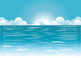 Sea and blue sky with beautifull clouds.Vector image — Stock Vector