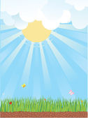 Natural background with summer landscape.Vector cartoons — Stock Vector