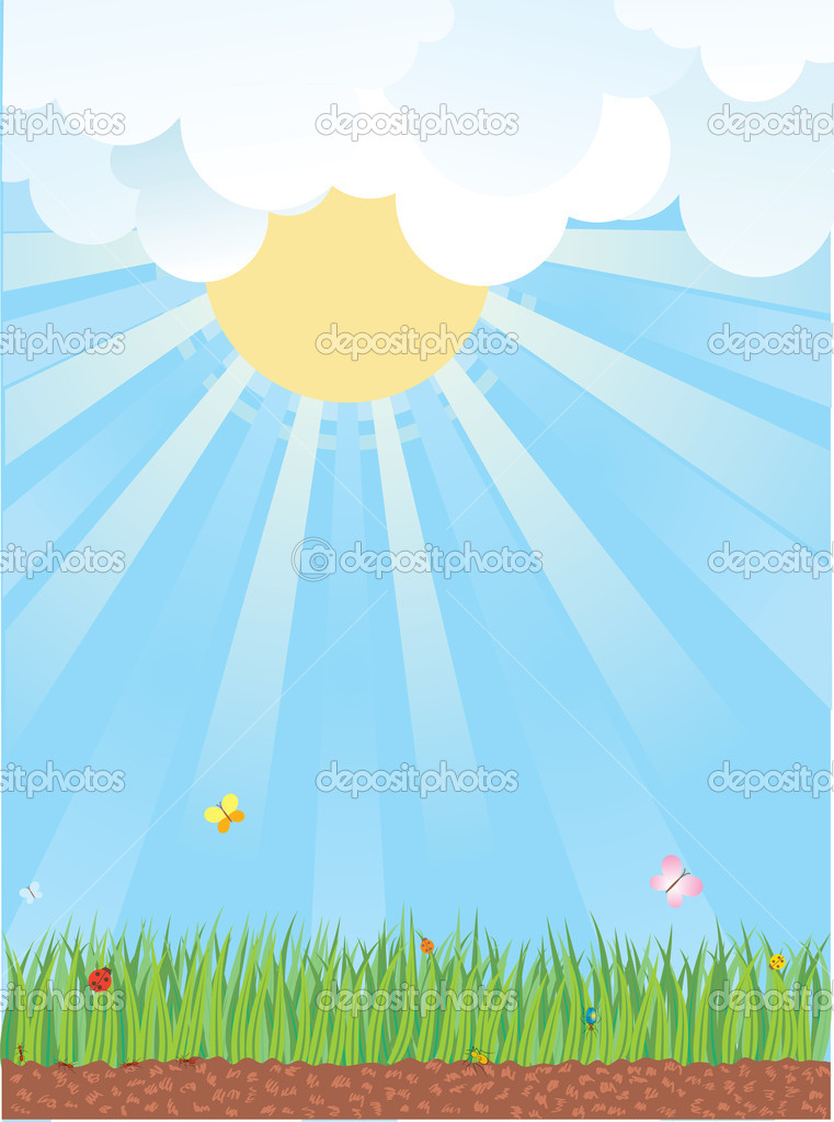 Natural background with summer landscape.Vector cartoons   Stock Vector #5377731