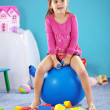 Child on jymnastic ball — Stock Photo
