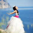 Bride over sea landscape — Stock Photo