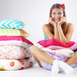 Girl restion on pillows — Stock Photo #4172537