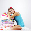 Girl restion on pillows — Stock Photo #4172539