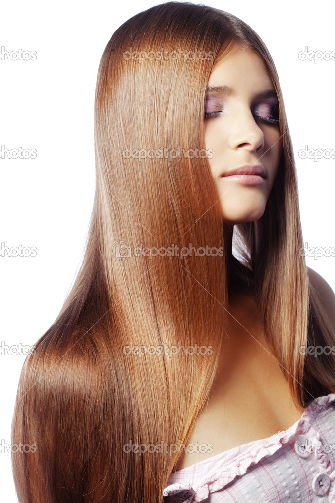 Portrait of young beautiful woman with long glossy hair — Stock Photo #4172547
