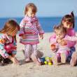 Kids playing at the beach — Foto Stock