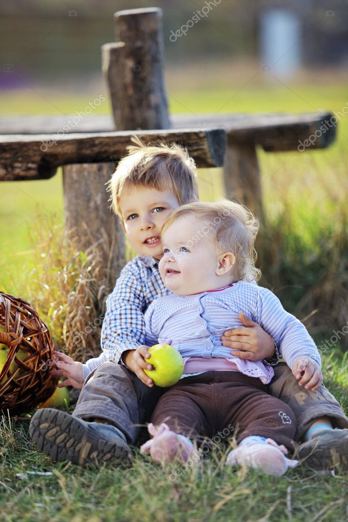 Cute kids having fun at countryside  Stock Photo #4292056