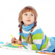 Little girl painting — Stock Photo #4336065