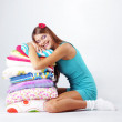 Stock Photo: Girl restion on pillows