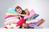 Restion de menina em travesseiros — Fotografia Stock