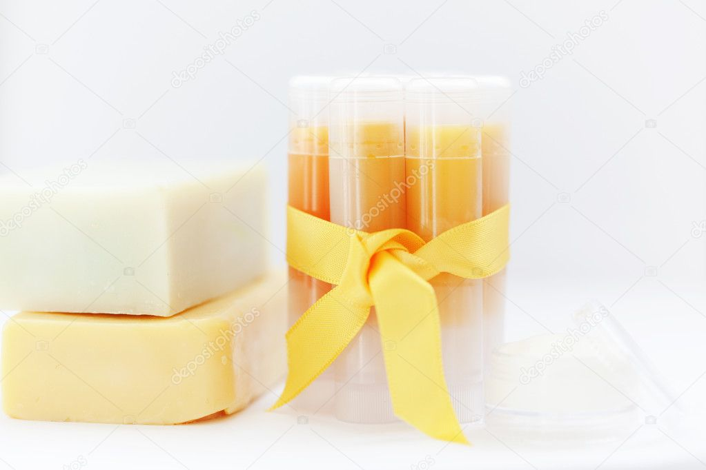 Homemade set of lip balms — Stock Photo #4931610