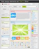 Web design elements set. Part 2. Silver. — Stock Vector