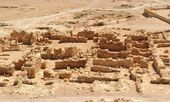 Ruins of ancient Masada fortress in desert — Stock Photo