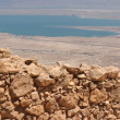 Wall of ancient Masada fortress in the desert — Stock Photo