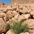 Stock Photo: Ruins of ancient tower on hill in desert