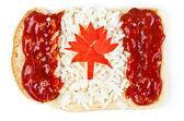 Sanduíche com uma bandeira do canadá — Foto Stock