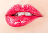 A beautiful girl`s lips — Stockfoto