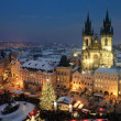 Old town square in Prague at Christmas time. Night. - Stok fotoraf