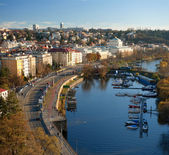 Vista panorámica desde vyshegrad en praga. república checa — Foto de Stock