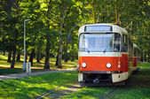 Old red tram in Prague — Stok fotoğraf
