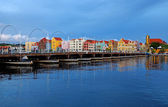 Nighttime panorama picture of Willemstad city, Curacao — Stock Photo