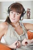 Woman with earphones — Stock Photo