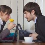 Romantic scene in office — Stock Photo