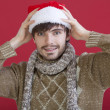 Happy man with santa hat — Stock Photo