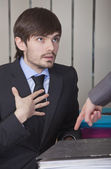 Businessman in overtime — Stock Photo