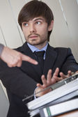 Man rejecting office work — Stock Photo