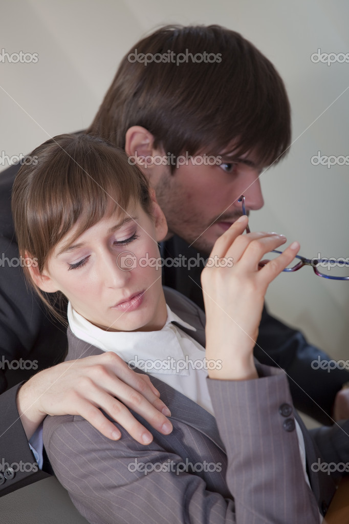 Office scene - sexual harassment by the work — Stock Photo #4280887
