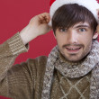 Man in santa hat — Stock Photo