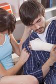 Man with plaster bandage — Stockfoto