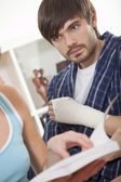 Man with plaster — Stock Photo