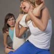 Two aggressive women fighting — Stock Photo