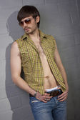 Cool man with open shirt — Stock Photo