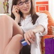 Home shopping on phone — Stock Photo #5103594