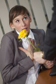 Man giving rose — Foto de Stock
