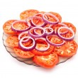 Sliced tomatoes and red onion — Stock Photo #3976231