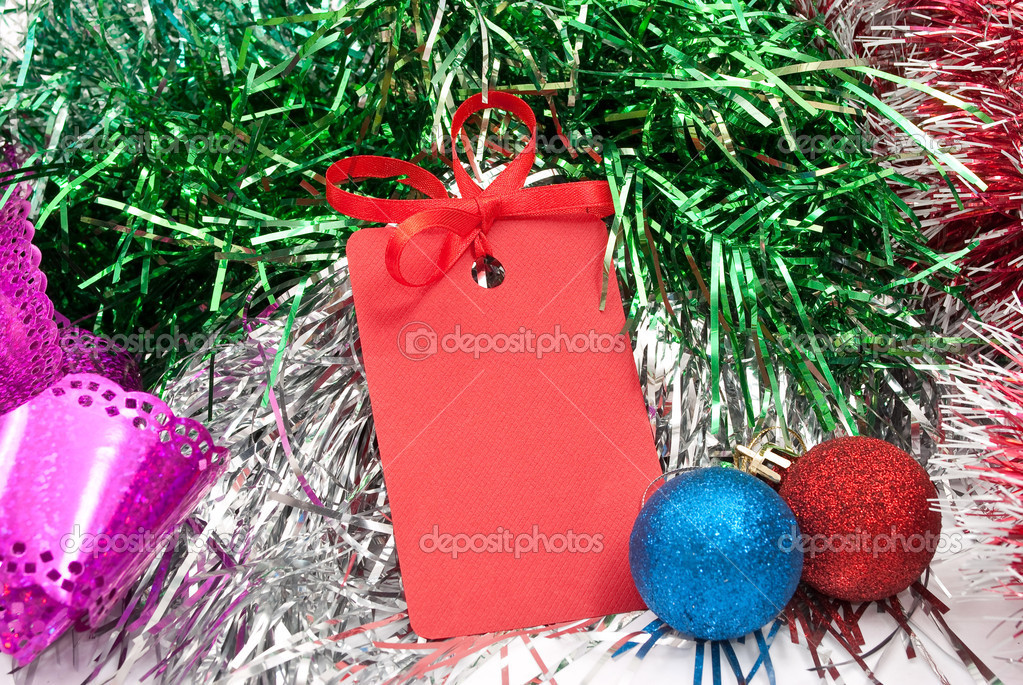 Blank christmas greeting tag — Stock Photo #4411166