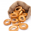 Burlap sack with bagels — Stock Photo #4666991