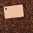 Tag on the background of coffee - Stock Photo