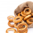 Burlap sack with bagels — Stock Photo