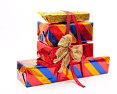 Stack of gift boxes with bow — Stock Photo