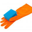 Rubber glove and kitchen sponge — Stock Photo