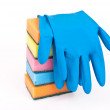 Rubber gloves and kitchen — Stock Photo