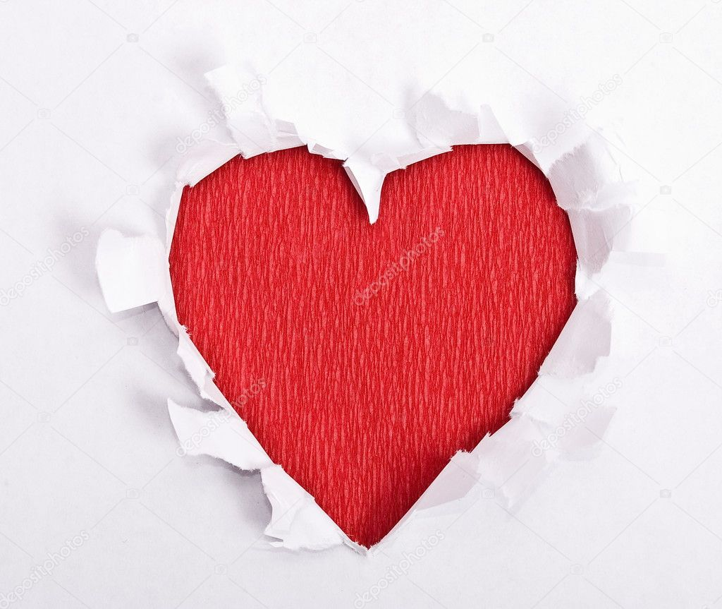 Red heart of the torn paper  Stock Photo #5352641