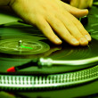 Hip-hop DJ scratching the record - Stock Photo