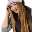 Young pretty girl in headphones — Stock Photo