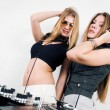 Two female DJs at the turntables — Stock Photo #4300656