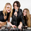 Female Djs and a singer — Stock Photo